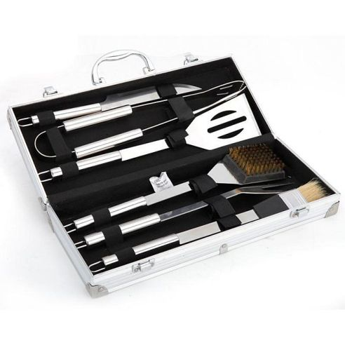 16. Stainless Steel BBQ Utensils Kit With Metal Case
