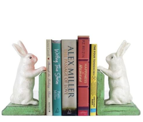 21. Matt Blatt Antique Look White Rabbit Bookends