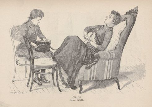 Demonstration of use of the vibrator in a medical setting, circa 1891
